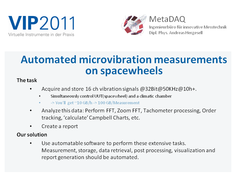 VIP MetaDAQ Slide 1: motivation for automated microvibration measurements